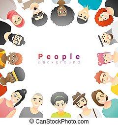 multi, concept, groupe, gens, fond, diversité ethnique, heureux