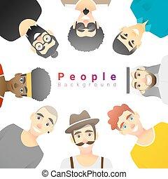 multi, concept, groupe, hommes, fond, diversité ethnique, heureux