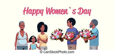multi, concept, mars, famille, africaine, génération, américain, hommes, salutation, féliciter, international, donner, femmes, caractères, 8, portrait, horizontal, fleurs, jour, carte, heureux