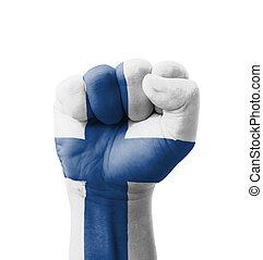 multi, concept, poing, peint, finlande, -, isolé, drapeau, but, fond, blanc