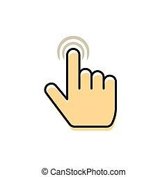 multi, concept, technologie, main, doigt, toucher,...