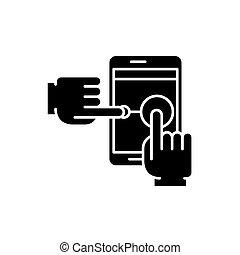 multi, concept, toucher, isolé, illustration, signe,...