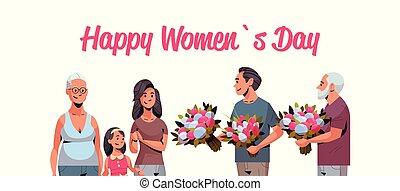 multi, concetto, marzo, caratteri, famiglia, generazione, uomini, maschio, augurio, congratularsi, internazionale, dare, donne, femmina, 8, ritratto, orizzontale, fiori, giorno, scheda, felice
