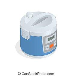 Multi cooker, crock-pot, multivarka isolated on the white. Flat 3d vector isometric illustration