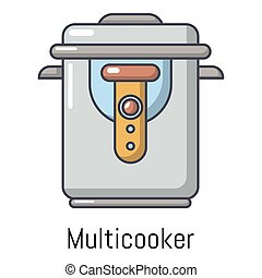 Multi cooker icon, cartoon style