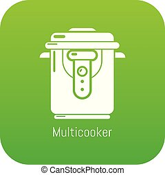 Multi cooker icon green vector