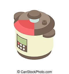 Multi cooker icon in cartoon style
