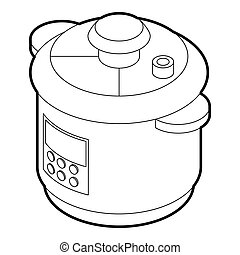 Multi cooker icon, outline style