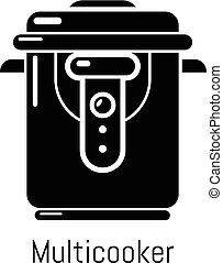 Multi cooker icon, simple black style