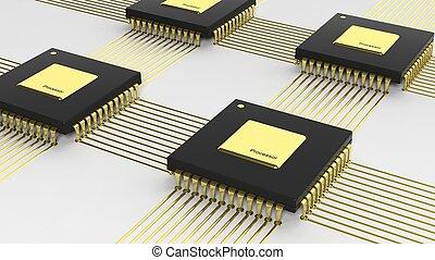 multi-core, isolato, computer, fondo, bianco, microchip, cpu