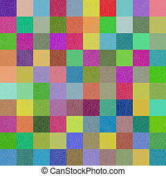 multi-couleur, carrés, mosaïque, fond