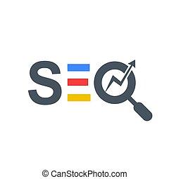 multi, couleur, verre, seo, logo, magnifier