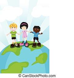 multi, crianças, étnico
