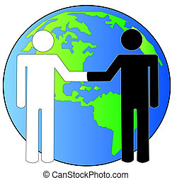 multi-cultural handshake with globe or earth behind -...