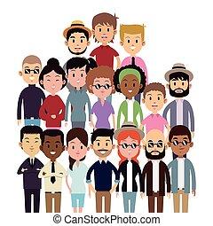 multi-culture, groupe, gens, grand, mode, ethnique