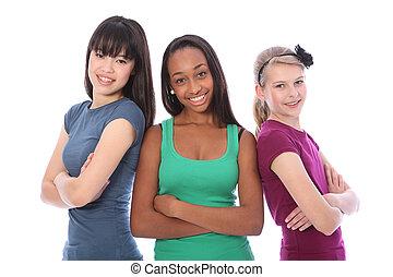multi cultureel, groep, tiener, schoolmeisjes, vrienden