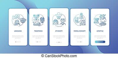 multi culturel, douane, app, page, mobile, concepts, écran, ...