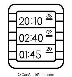 Multi display digital clock icon, outline style