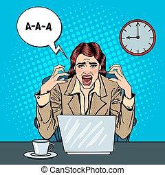 multi, donna, arte, ufficio, affari, frustrato, work., ...