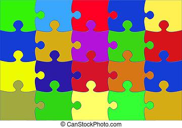 multi, elemente, puzzel, abbildung, farbig