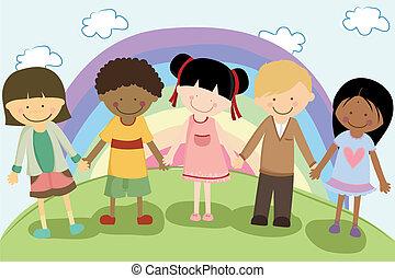 multi, enfants, ethnique