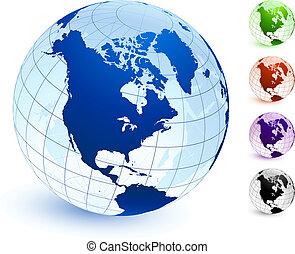 multi, ensemble, coloré, globe