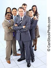 multi, erwachsene, geschäftsmenschen, ethnisch, mannschaft, gemischter, korporativ
