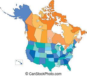 multi, estados, canadá, eua, cores, províncias