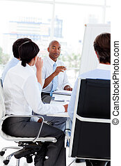 multi-ethnic, affärsverksamhet lag, hos, a, möte