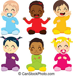 Multi-ethnic Baby Kids - Multi-ethnic group of six children...