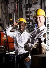 multi-ethnic, compañeros de trabajo, en, oficina, mantenimiento, habitación