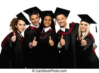 Multi ethnic group of graduated young students isolated on...