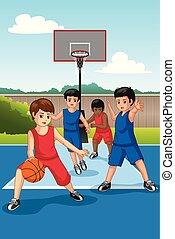 Multi Ethnic Group of Kids Playing Basketball Illustration