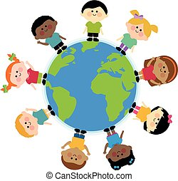 Multi ethnic group of kids standing around the earth. Vector illustration