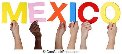 Multi ethnic group of people holding the word Mexico