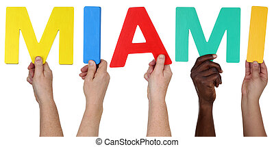 Multi ethnic group of people holding the word Miami