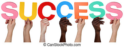 Multi ethnic group of people holding the word success