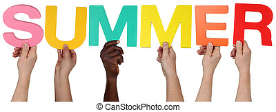 Multi ethnic group of people holding the word summer
