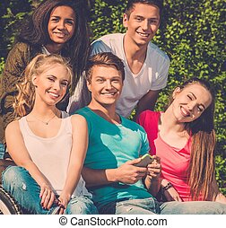 Multi ethnic group of teenage friends in a park