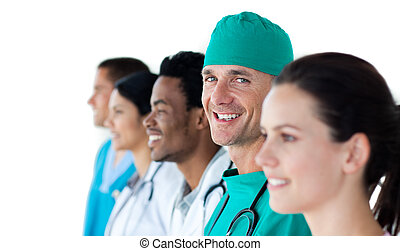 Multi-ethnic medical team smiling