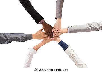 Multi Ethnic People Stacking Hands - Group Of Multi Ethnic...
