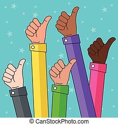 Multi Ethnic Thumbs up Illustration