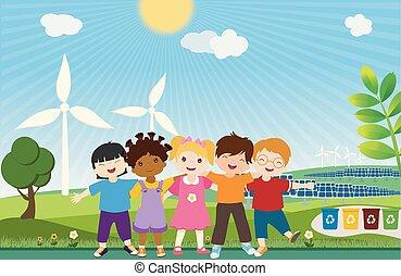 multi-ethnique, energy., planet., différent, écologie, sauver, unité, enfants, world., ensemble, propre, embrasser, global, écologique, eco-amical, cultures, soutenable, environnement