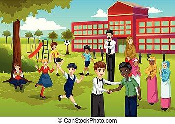 multi ethnique, et, divers, étudiants, jouer, dans, école