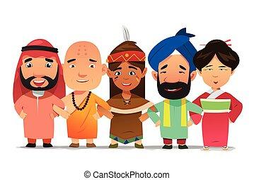 multi ethnique, gens, bras enchaînement, ensemble,...
