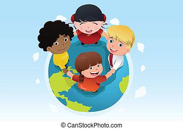 multi ethnique, gosses, tenant mains, ensemble