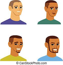 multi-ethnique, hommes, avatar, dessin animé