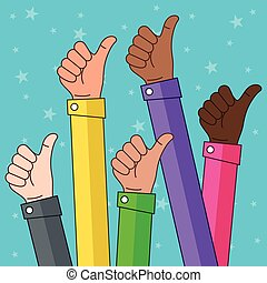 multi ethnique, pouces haut, illustration
