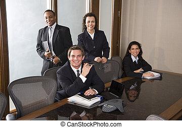 multi-ethnique, salle réunion, équipe, business