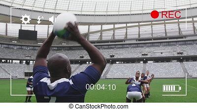 multi-ethnique, sur, équipes, jouer, deux, animation, rugby, écran, appareil photo